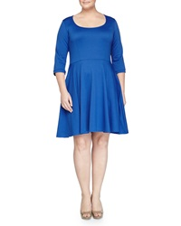 Melissa Masse Stretch Fit And Flare Jersey Dress Royal
