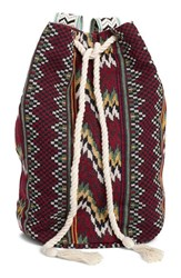 Billabong 'Bonfire Beachin' Woven Backpack Burgundy Multi