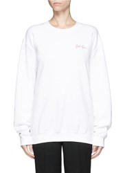 Double Trouble 'Girl Gang' Embroidered Fleece Sweatshirt White