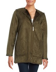 Michael Kors Reversible Faux Fur Jacket Olive