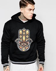 Jaded London Hoodie With Tapestry Hamsa Black