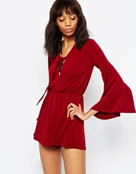 Wal G Playsuit With Lace Up Detail Wine Red