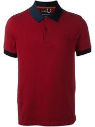 Fred Perry Raf Simons X Contrast Collar Polo Shirt Red