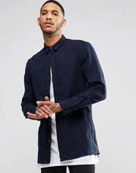 Religion Blaze Long Sleeved Longline Checked Shirt Blue