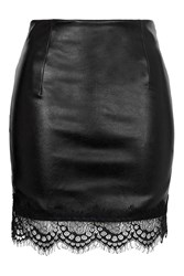 Simple Things Black Faux Leather Skirt With Lace Hem By Goldie