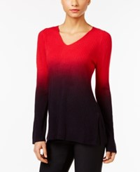 Ny Collection High Low Ombre Sweater Scarlet Sage Ombre
