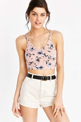 Out From Under Princess Basic Ribbed Striped Bra Top Rose