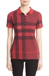 Burberry Women's Brit Exploded Check Print Polo Shirt Peony Rose