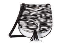 Just Cavalli Leather Zebra Suede Saddle Bag White