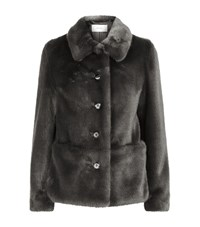 Reiss Alexia Faux Fur Jacket Female Black