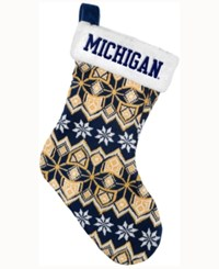 Forever Collectibles Michigan Wolverines Ugly Sweater Knit Team Stocking Navy