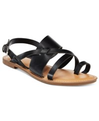 Bar Iii Voltage Strappy Slingback Flat Sandals Only At Macy's Women's Shoes Black