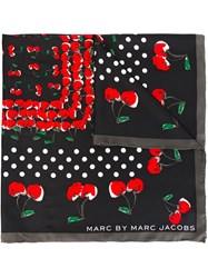 Marc By Marc Jacobs Cherry Print Square Scarf Black