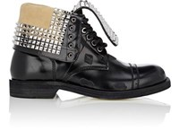 Loewe Men's Studded Leather Cap Toe Boots Black