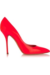 Casadei Neon Patent Leather Pumps Orange