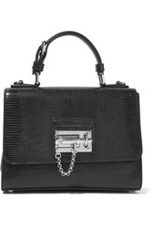 Dolce And Gabbana Textured Patent Leather Shoulder Bag Black