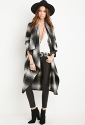 Forever 21 Plaid Draped Front Coat Black White