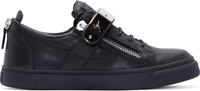 Giuseppe Zanotti Black And Silver Leather Sneakers