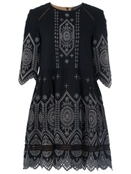 French Connection Josephine Dress Black Tribal Green