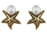 Oscar De La Renta Pave Sea Star Pearl Button P Earrings Light Gold