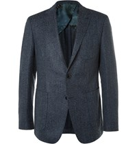 Etro Blue Slim Fit Wool Blend Tweed Blazer Blue
