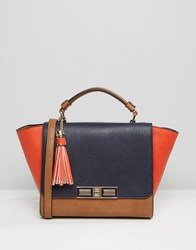 Dune Colour Block Winged Tote Bag Navy Tan Tomatoe