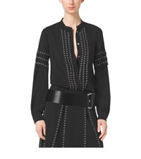Michael Kors Grommet Embroidered Georgette Blouse