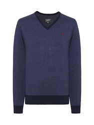 Peter Werth Sutton Cut V Neck Jumper Navy