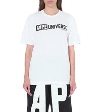 Aape By A Bathing Ape Logo Print Cotton Jersey T Shirt White