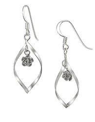 Lord And Taylor Sterling Silver Sculptural Hoop Pendant Earrings With Floral Embellishments
