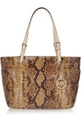Michael Michael Kors Snake Effect Coated Suede Tote Animal Print