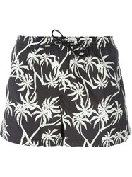 Dondup Palm Tree Print Swim Shorts Black