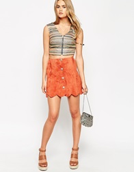 Asos Suede A Line Skirt With Button Through And Scalloped Hem Rust