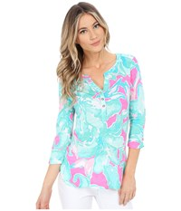 Lilly Pulitzer Mindy Tunic Tropical Pink Sands Women's Clothing Blue