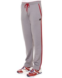 Stefano Ricci Red Striped Knit Sweatpants Gray Men's