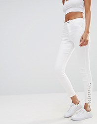 Missguided Sinner Highwaisted Lace Up Skinny Jean White