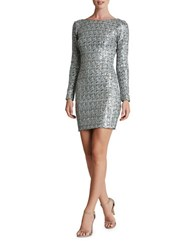 Dress The Population Sequined Long Sleeve Bodycon White Silver