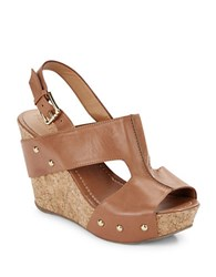 Kenneth Cole Reaction Sole O Leather Open Toe Slingback Wedges Toffee