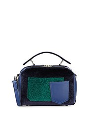 Dannijo Ricci Velvet And Leather Colorblock Mini Crossbody Bag Sapphire