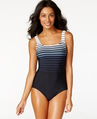 Reebok Ombre Stripe One Piece Swimsuit Women's Swimsuit Silver Gray