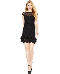 Jessica Simpson Floral Lace Ruffle Hem Sheath Black