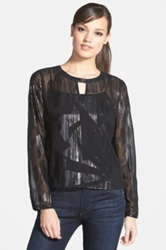 Trouve Long Sleeve Sheer Top Black