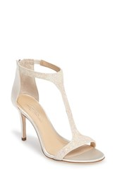 Imagine By Vince Camuto Women's 'Phoebe' Embellished T Strap Sandal Iridescent White Satin