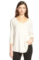 Trouve Women's Trouve 'Everyday' V Neck Sweater Beige Oatmeal Light Heather
