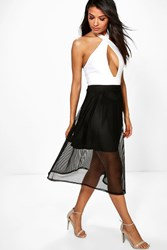 Boohoo Mesh Full Skater Skirt Black