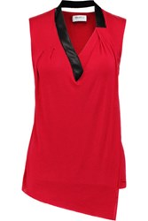Bailey 44 Wrap Effect Leather Trimmed Jersey Top Red