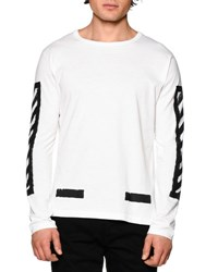 Off White Brushed Lines Long Sleeve Graphic T Shirt Black White Blanc
