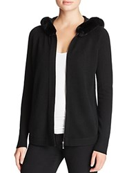 Magaschoni Rabbit Fur Trimmed Cashmere Cardigan Black