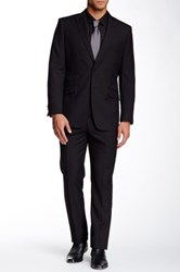 English Laundry Tonal Check Two Button Peak Lapel Suit Black