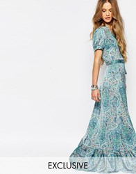 Reclaimed Vintage Maxi Wrap Dress In Paisley Multi